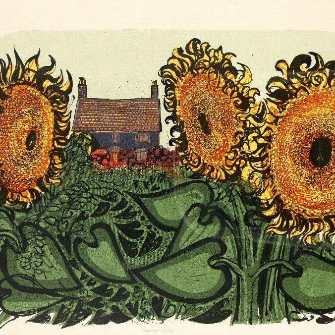 Robert Tavener Sunflowers and Cottage